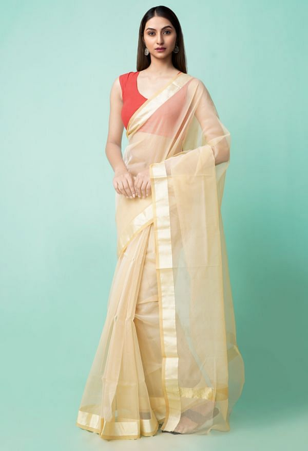 Online Shopping for Cream  Plain Organza Saree with Bagru from Rajasthan at Unnatisilks.comIndia