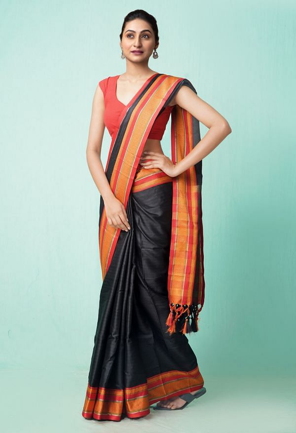 Online Shopping for Black Fancy Art Silk Saree with Weaving from Punjab at Unnatisilks.comIndia