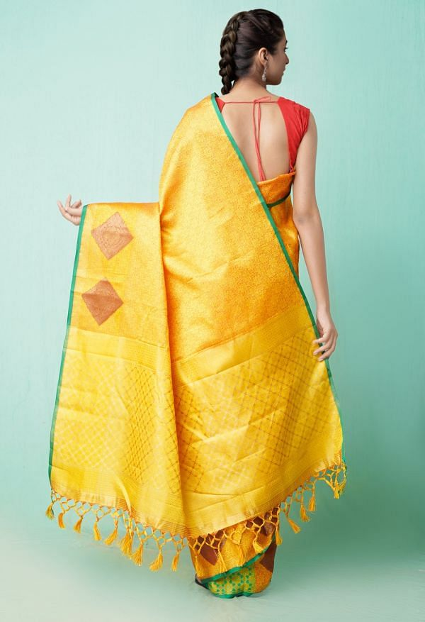Online Shopping for Orange  Fancy Art Silk Saree with Weaving from Punjab at Unnatisilks.comIndia