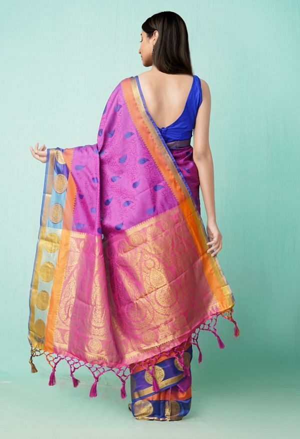 Online Shopping for Purple  Fancy Art Silk Saree with Weaving from Punjab at Unnatisilks.comIndia