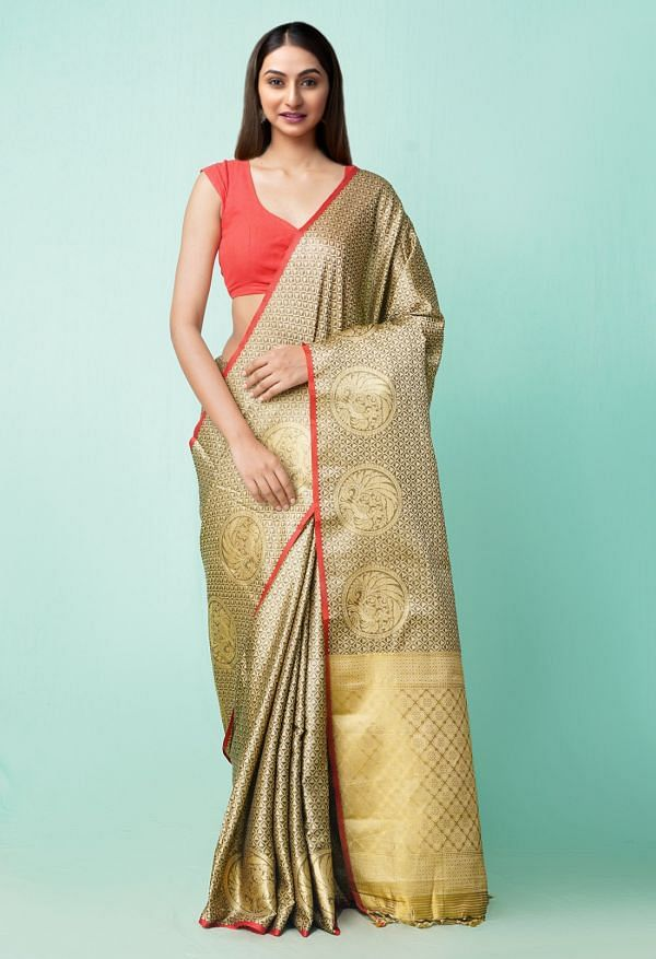 Online Shopping for Grey  Fancy Art Silk Saree with Weaving from Punjab at Unnatisilks.comIndia