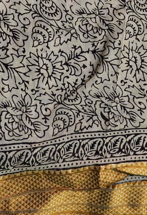Online Shopping for Grey Pure Preet Bagru Mulmul Cotton Saree with Bagru from Rajasthan at Unnatisilks.comIndia