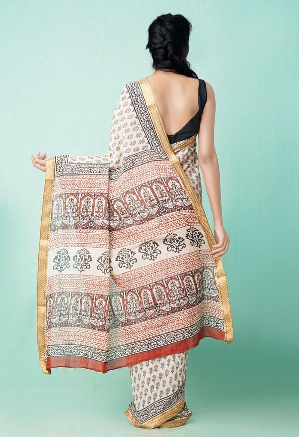 Online Shopping for Beige Pure Preet Bagru Mulmul Cotton Saree with Bagru from Rajasthan at Unnatisilks.comIndia