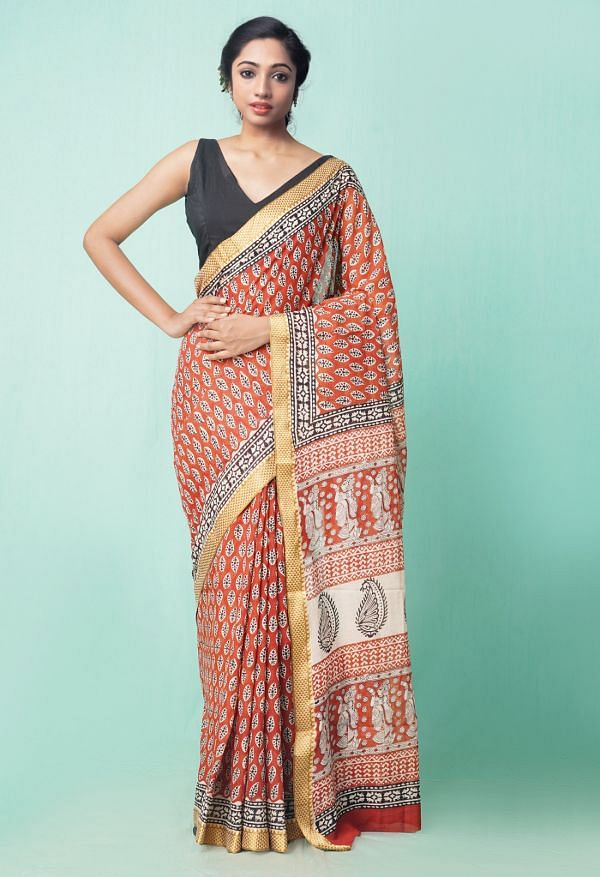 Online Shopping for Red Pure Preet Bagru Mulmul Cotton Saree with Bagru from Rajasthan at Unnatisilks.comIndia