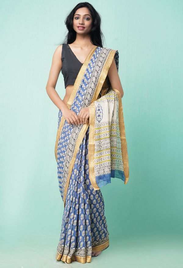 Online Shopping for Blue Pure Preet Bagru Mulmul Cotton Saree with Bagru from Rajasthan at Unnatisilks.comIndia