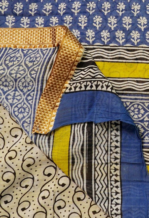 Online Shopping for Yellow Pure Preet Bagru Mulmul Cotton Saree with Bagru from Rajasthan at Unnatisilks.comIndia