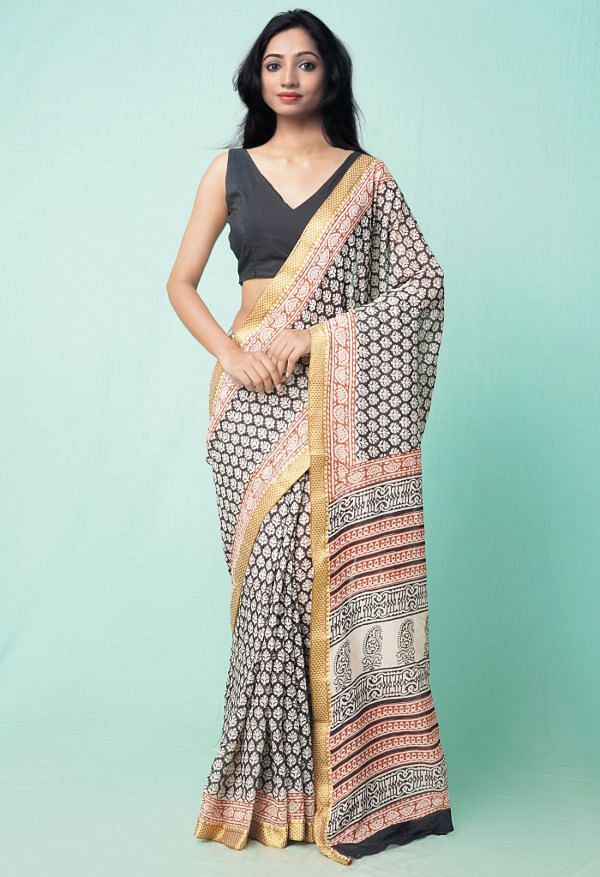 Online Shopping for Black Pure Preet Bagru Mulmul Cotton Saree with Bagru from Rajasthan at Unnatisilks.comIndia
