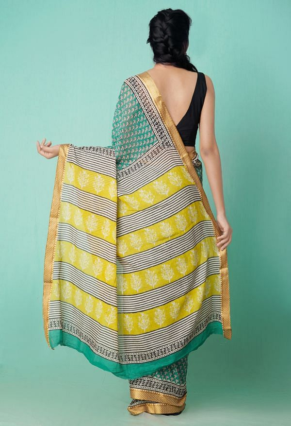 Online Shopping for Green Pure Preet Bagru Mulmul Cotton Saree with Bagru from Rajasthan at Unnatisilks.comIndia
