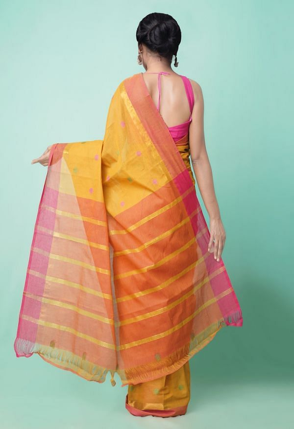 Online Shopping for Yellow Pure Pavani Chettinad Cotton Saree with Weaving from Andhra Pradesh at Unnatisilks.comIndia