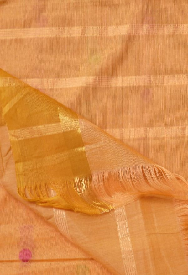 Online Shopping for Peach Orange Pure Pavani Chettinad Cotton Saree with Weaving from Tamilnadu at Unnatisilks.comIndia