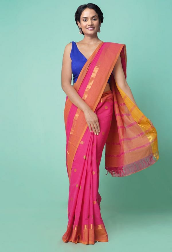Online Shopping for Pink Pure Pavani Chettinad Cotton Saree with Weaving from Tamilnadu at Unnatisilks.comIndia