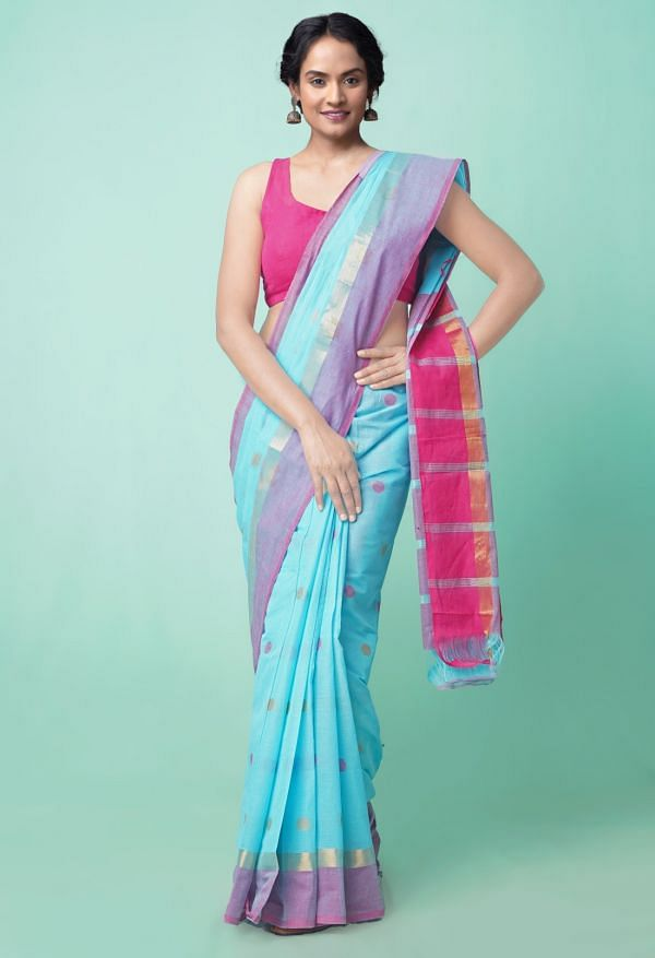 Online Shopping for Blue Pure Pavani Chettinad Cotton Saree with Weaving from Tamilnadu at Unnatisilks.comIndia