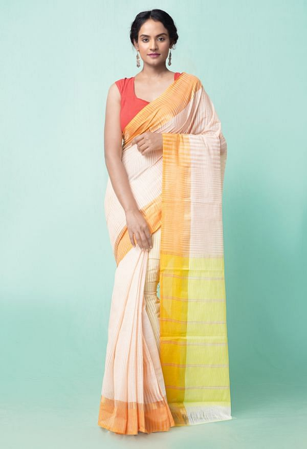 Online Shopping for Ivory Pure Pavani Mangalagiri Cotton Saree with Weaving from Andhra Pradesh at Unnatisilks.comIndia
