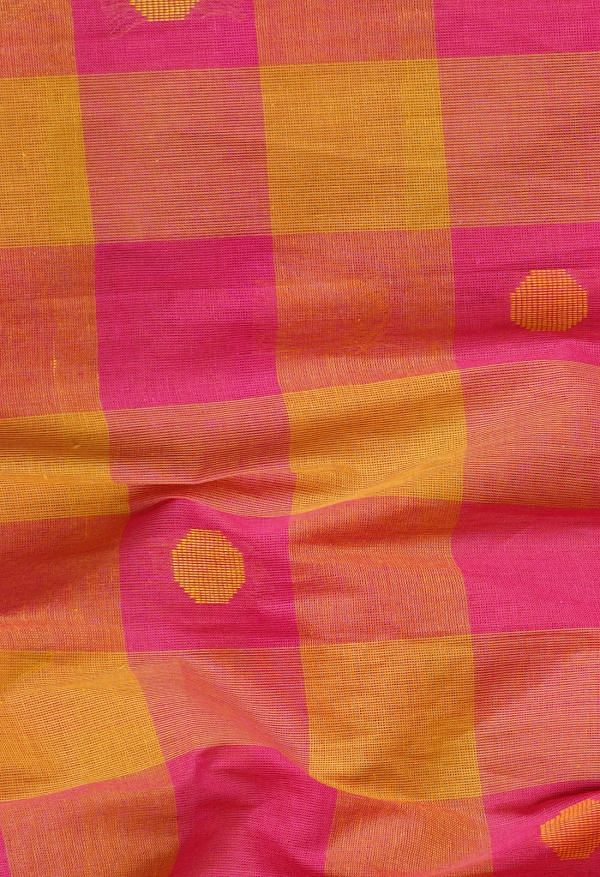 Online Shopping for Pink-Yellow Pure Pavani Chettinad Cotton Saree with Weaving from Andhra Pradesh at Unnatisilks.comIndia