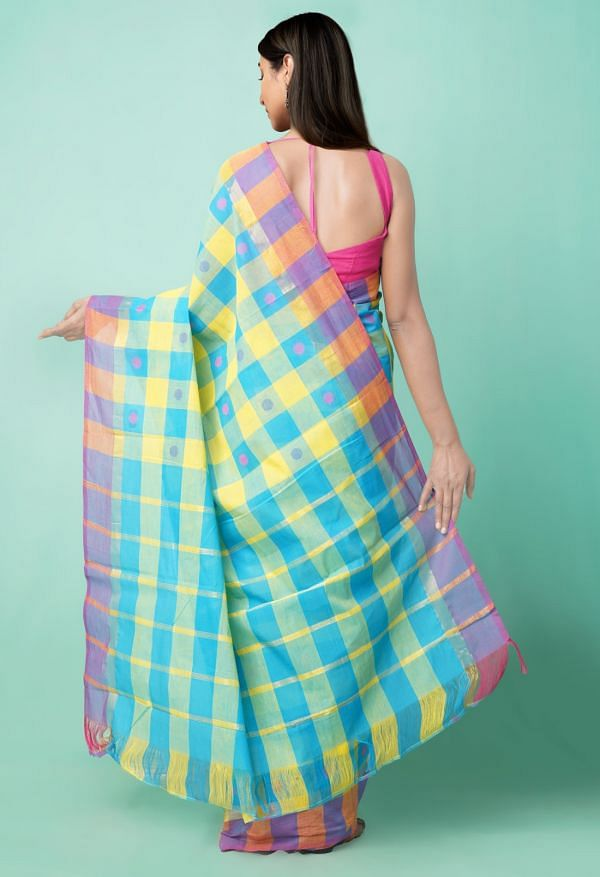 Online Shopping for Multi Pure Pavani Chettinad Cotton Saree with Weaving from Andhra Pradesh at Unnatisilks.comIndia
