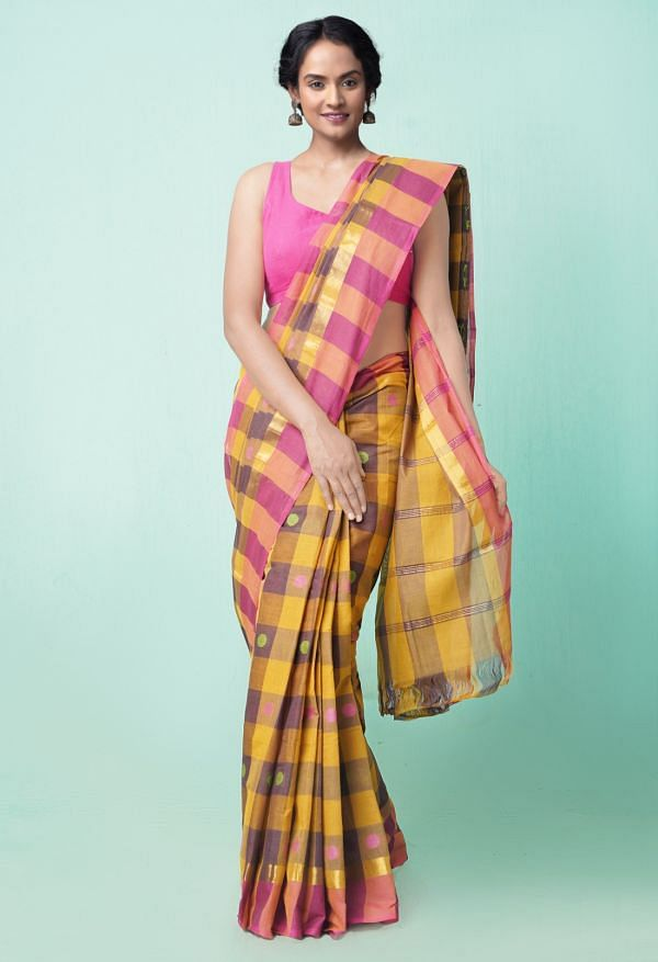 Online Shopping for Brown Pure Pavani Chettinad Cotton Saree with Weaving from Tamilnadu at Unnatisilks.comIndia