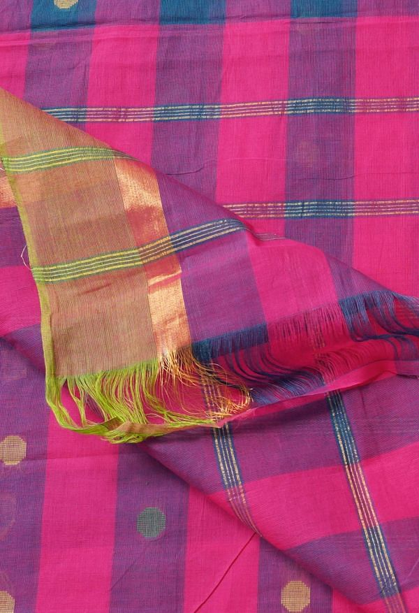 Online Shopping for Multi Pure Pavani Chettinad Cotton Saree with Weaving from Tamilnadu at Unnatisilks.comIndia