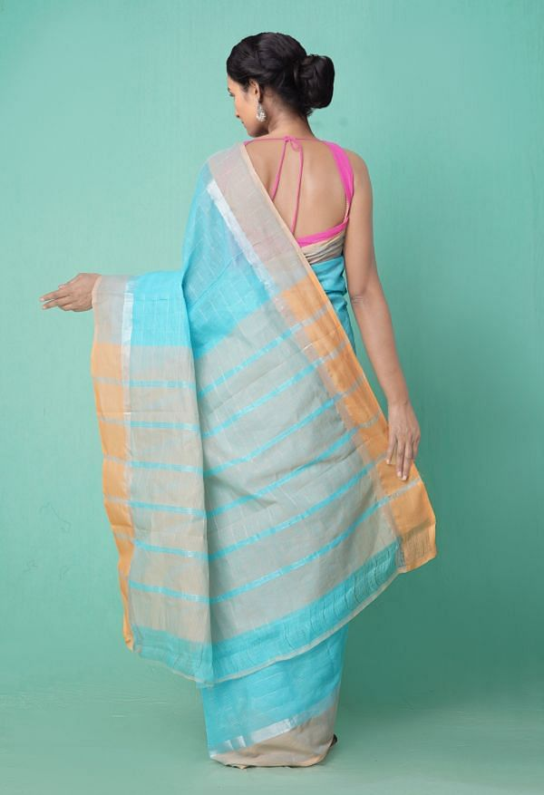 Online Shopping for Blue Pure Pavani Mangalagiri Cotton Saree with Weaving from Andhra Pradesh at Unnatisilks.comIndia