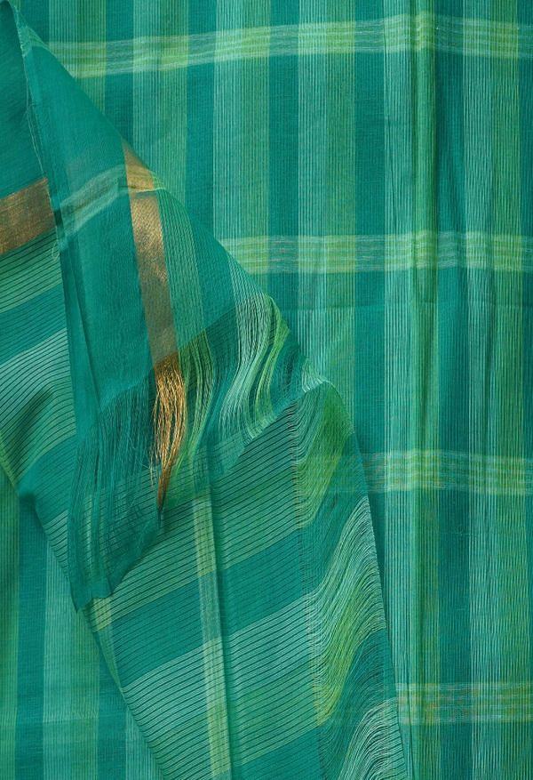 Online Shopping for Green Pure Pavani Mangalagiri Cotton Saree with Weaving from Andhra Pradesh at Unnatisilks.comIndia
