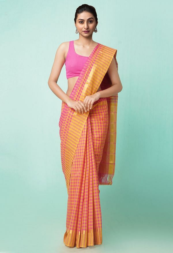 Online Shopping for Pink-Yellow Pure Pavani Mangalagiri Cotton Saree with Weaving from Andhra Pradesh at Unnatisilks.comIndia