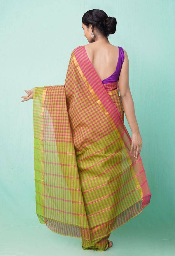 Online Shopping for Pink-Green Pure Pavani Mangalagiri Cotton Saree with Weaving from Andhra Pradesh at Unnatisilks.comIndia