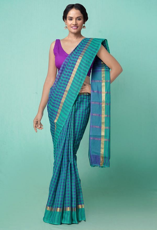 Online Shopping for Green-Blue Pure Pavani Mangalagiri Cotton Saree with Weaving from Andhra Pradesh at Unnatisilks.comIndia