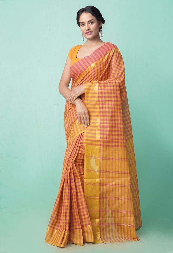 Online Shopping for Maroon-Yellow Pure Pavani Mangalagiri Cotton Saree with Weaving from Andhra Pradesh at Unnatisilks.comIndia