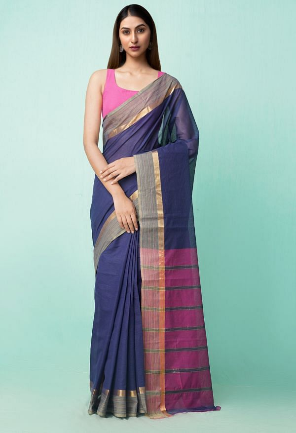 Online Shopping for Navy Blue Pure Pavani Mangalagiri Cotton Saree with Weaving from Andhra Pradesh at Unnatisilks.comIndia