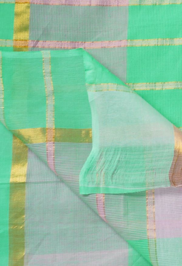 Online Shopping for Green-Pink Pure Pavani Mangalagiri Cotton Saree with Weaving from Andhra Pradesh at Unnatisilks.comIndia