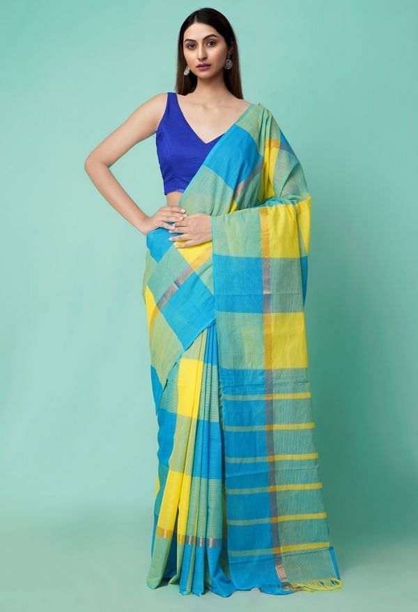 Online Shopping for Blue-Yellow Pure Pavani Mangalagiri Cotton Saree with Weaving from Andhra Pradesh at Unnatisilks.comIndia