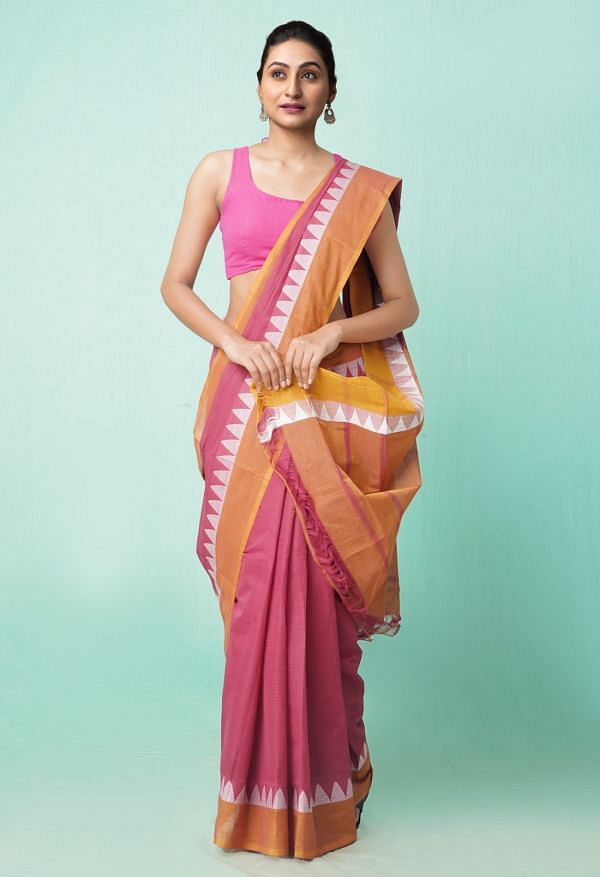 Online Shopping for Maroon Pure Pavani Mangalagiri Cotton Saree with Weaving from Andhra Pradesh at Unnatisilks.comIndia