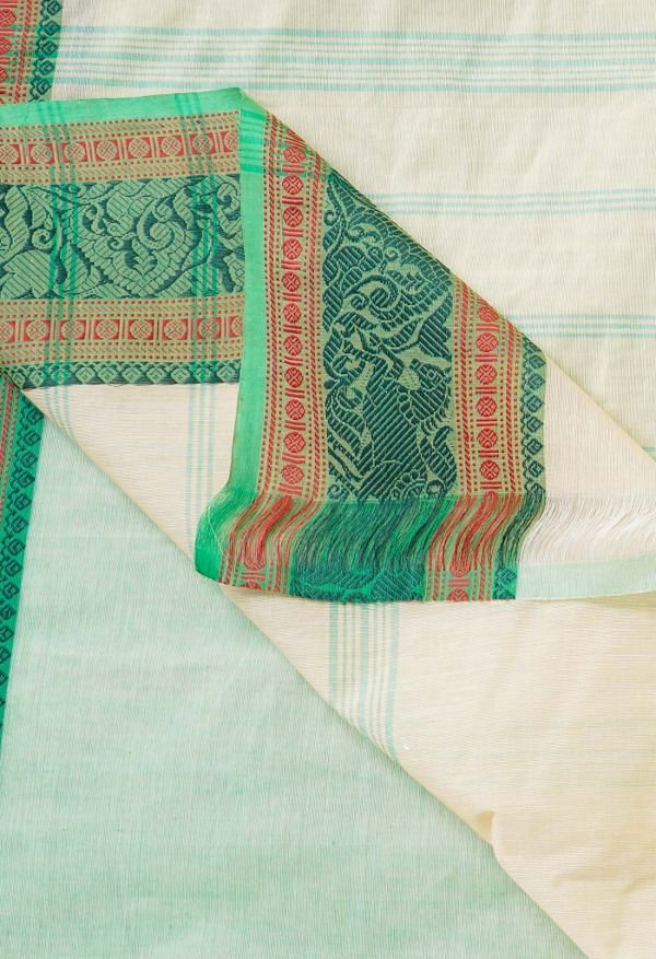 Online Shopping for Ivory Pure Handloom Pavani Chettinad Cotton Saree with Weaving from Tamilnadu at Unnatisilks.comIndia