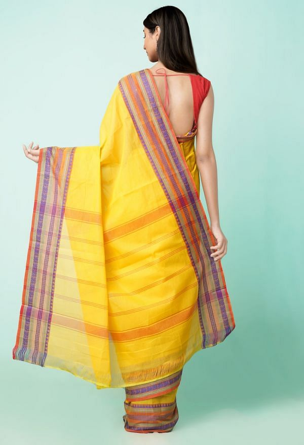 Online Shopping for Yellow Pure Handloom Pavani Chettinad Cotton Saree with Weaving from Tamilnadu at Unnatisilks.comIndia