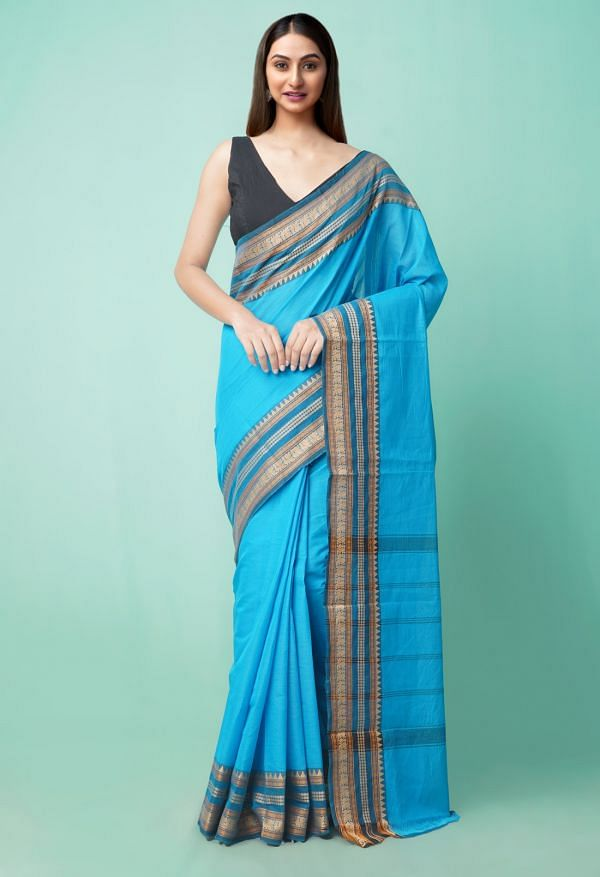 Online Shopping for Blue Pure Handloom Pavani Chettinad Cotton Saree with Weaving from Tamilnadu at Unnatisilks.comIndia