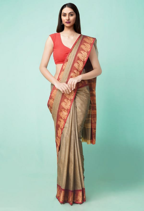 Online Shopping for Brown Pure Handloom Pavani Chettinad Cotton Saree with Weaving from Tamilnadu at Unnatisilks.comIndia