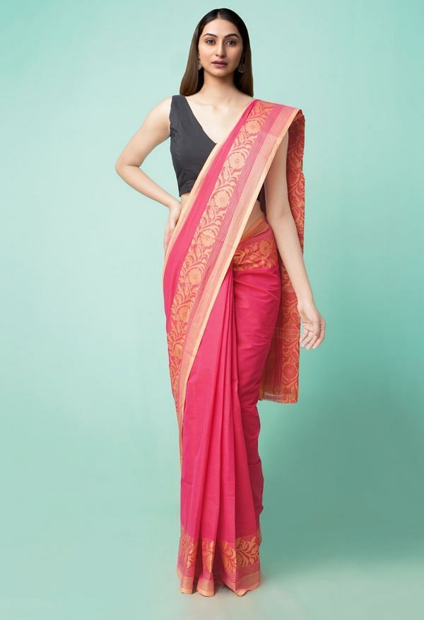 Online Shopping for Pink Pure Handloom Pavani Chettinad Cotton Saree with Weaving from Tamilnadu at Unnatisilks.comIndia