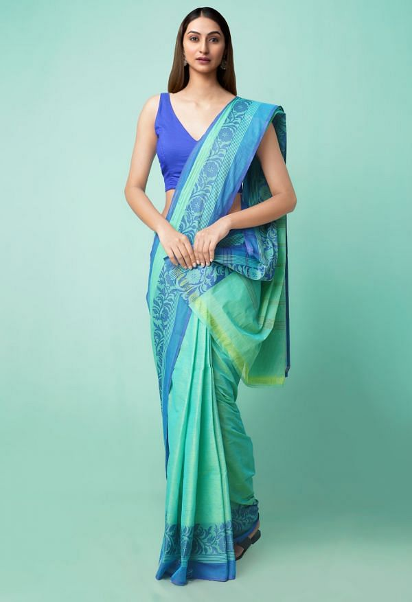 Online Shopping for Green Pure Handloom Pavani Chettinad Cotton Saree with Weaving from Tamilnadu at Unnatisilks.comIndia