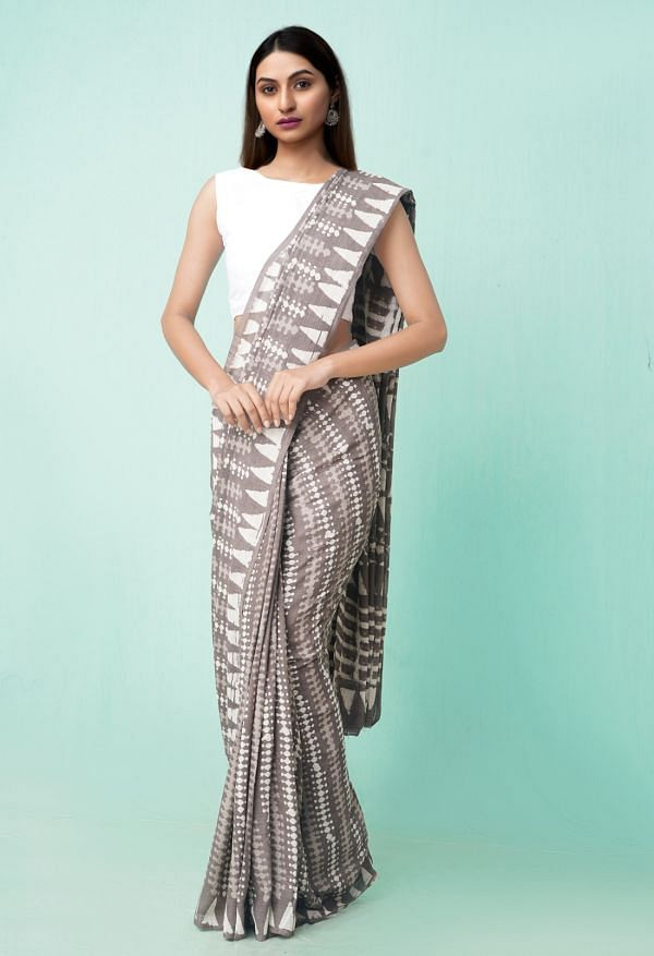 Online Shopping for Grey Pure Preet Dabu Mulmul Cotton Saree with Dabu from Rajasthan at Unnatisilks.comIndia
