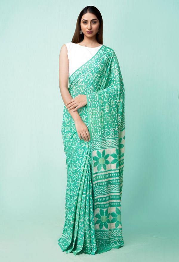 Online Shopping for Green Pure Preet Dabu Mulmul Cotton Saree with Dabu from Rajasthan at Unnatisilks.comIndia
