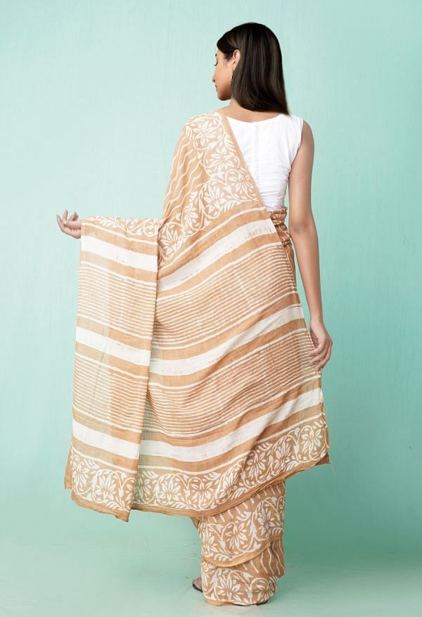 Online Shopping for Brown Pure Preet Dabu Mulmul Cotton Saree with Dabu from Rajasthan at Unnatisilks.comIndia