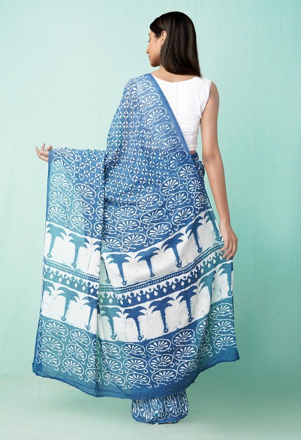 Online Shopping for Indigo Blue Pure Preet Dabu Mulmul Cotton Saree with Dabu from Rajasthan at Unnatisilks.comIndia