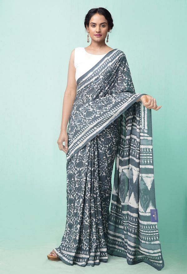 Online Shopping for Turquoise Blue Pure Preet Dabu Mulmul Cotton Saree with Dabu from Rajasthan at Unnatisilks.comIndia