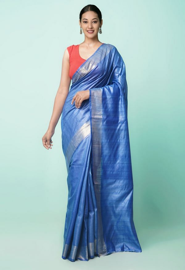 Online Shopping for Blue Pure Handloom Tussar Silk Saree with Weaving from Chhattisgarh at Unnatisilks.comIndia