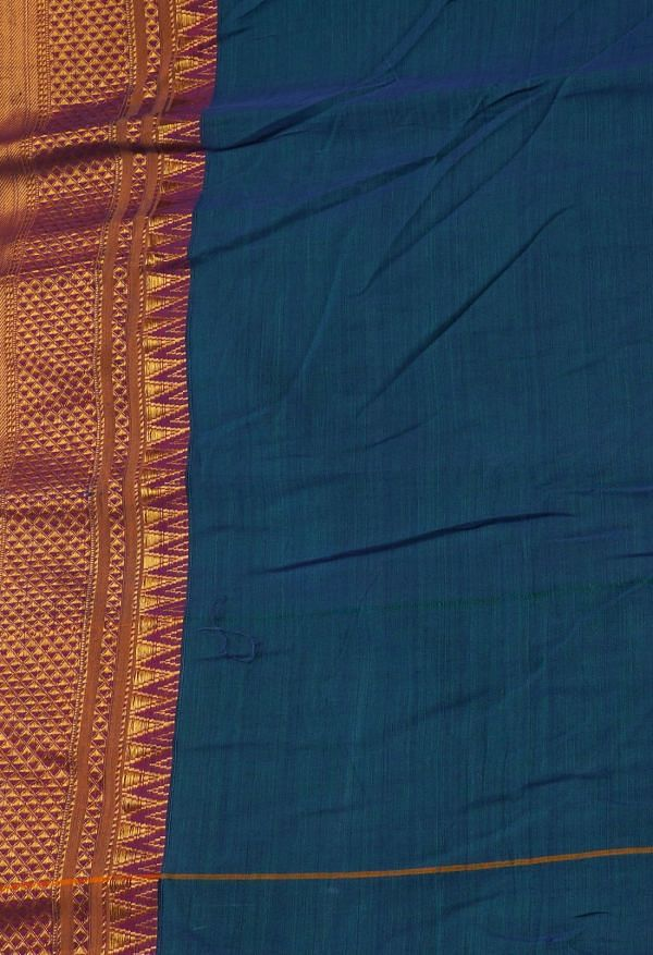 Online Shopping for Blue-Green Pure Handloom Narayanpet Cotton Saree with Weaving from Andhra Pradesh at Unnatisilks.comIndia