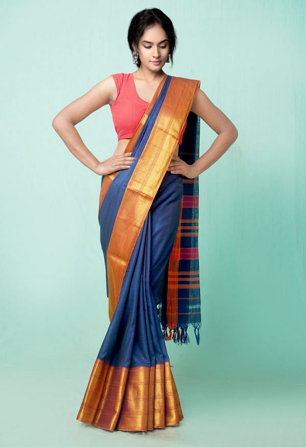 Online Shopping for Navy Blue Pure Handloom Narayanpet Cotton Saree with Weaving from Andhra Pradesh at Unnatisilks.comIndia