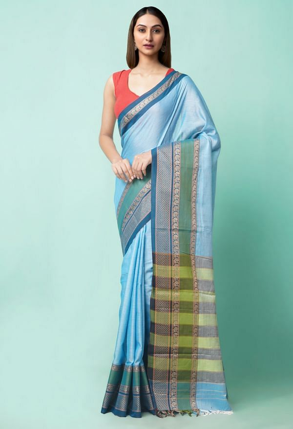 Online Shopping for Blue Pure Handloom Narayanpet Cotton Saree with Weaving from Andhra Pradesh at Unnatisilks.comIndia