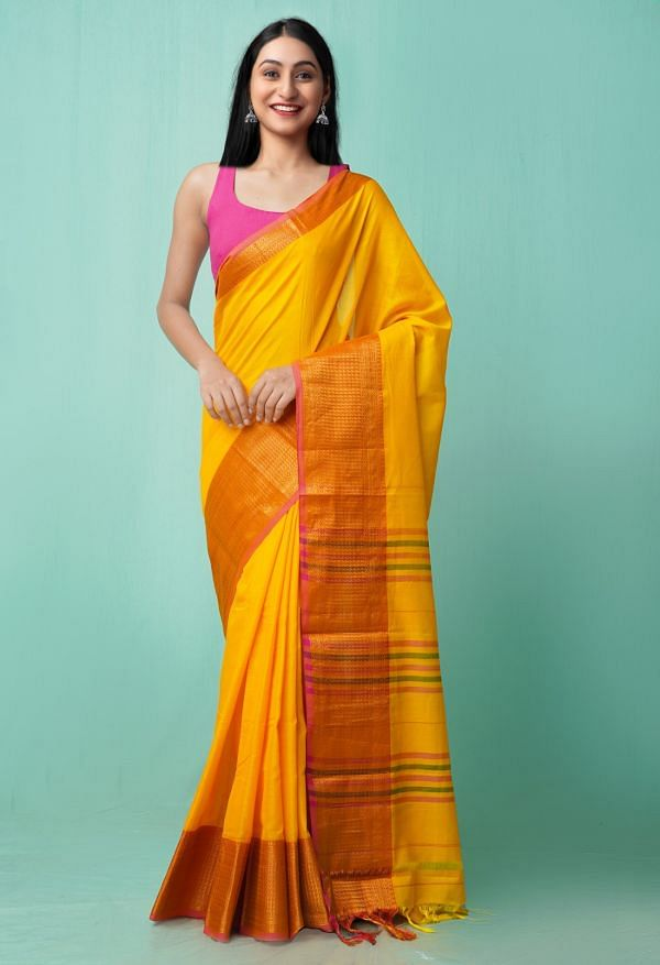 Online Shopping for Yellow Pure Handloom Narayanpet Cotton Saree with Weaving from Andhra Pradesh at Unnatisilks.comIndia