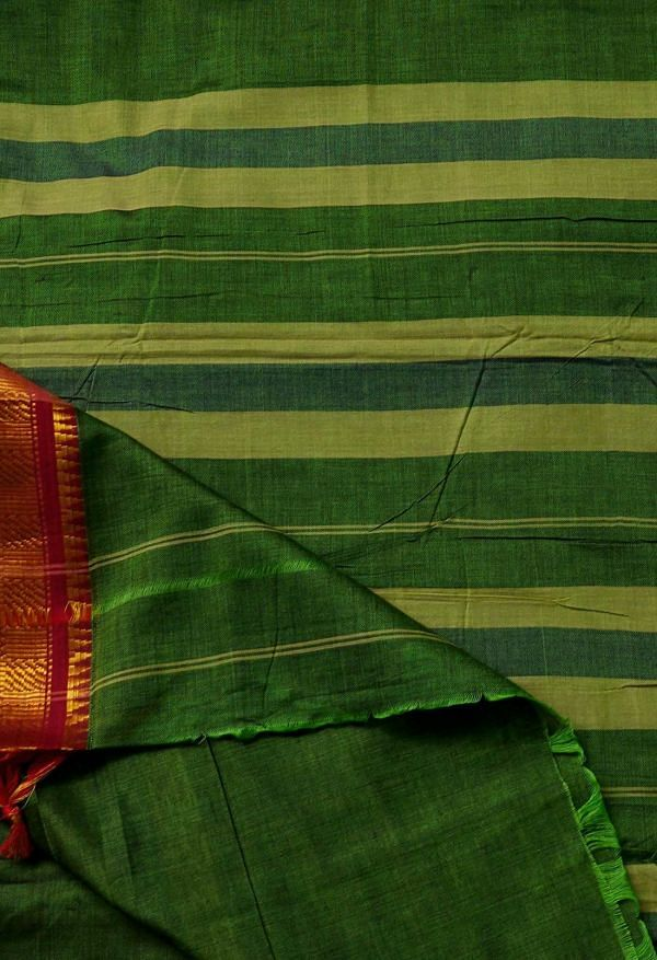 Online Shopping for Green Pure Handloom Narayanpet Cotton Saree with Weaving from Andhra Pradesh at Unnatisilks.comIndia