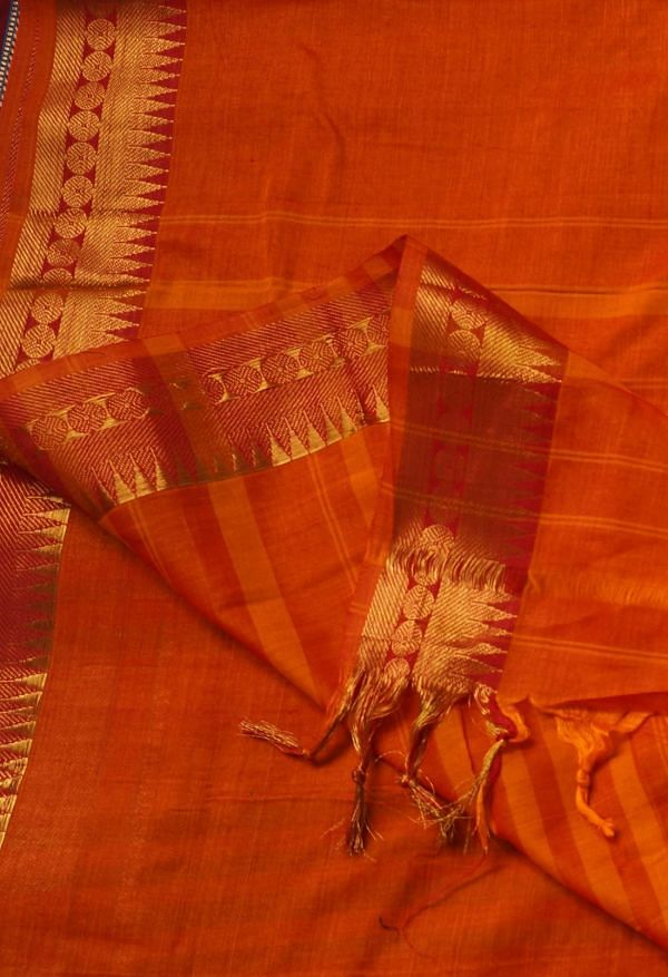 Online Shopping for Orange Pure Handloom Narayanpet Cotton Saree with Weaving from Andhra Pradesh at Unnatisilks.comIndia