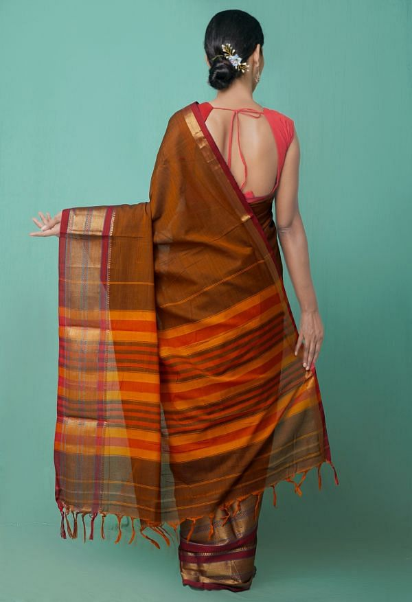Online Shopping for Rust Orange Pure Handloom Narayanpet Cotton Saree with Weaving from Tamilnadu at Unnatisilks.comIndia